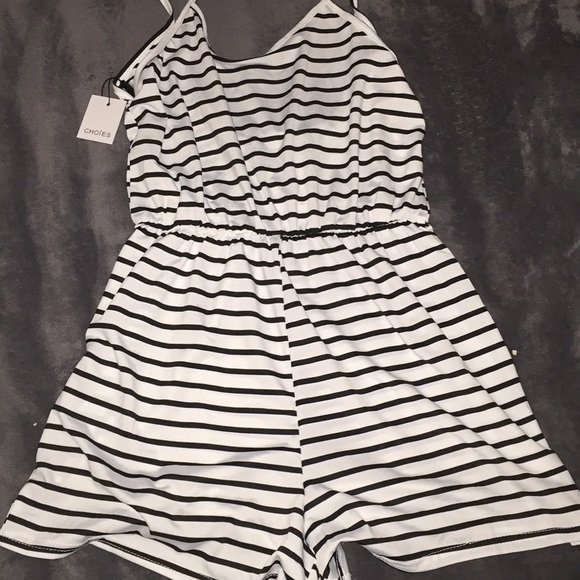 Choies Other - Black and white striped romper
